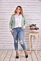 Зеленая блузка-рубашка | 0637-3