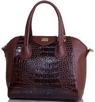 Eterno Изумительная вместительная коричневая сумочка с тиснением под кожу рептилии