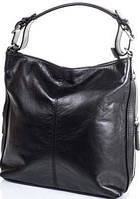 Большая черная сумка из натуральной кожи  с съемной ручкой ETERNO черный ETK02-08
