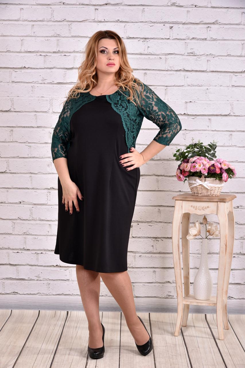 Черное платье с зеленым гипюром | 0643-2