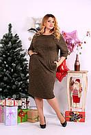Коричневое платье   0649-2