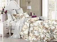 Светлый двуспальный евро комплект постельного белья