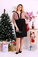 Бежевое с черным платье | 0655-2