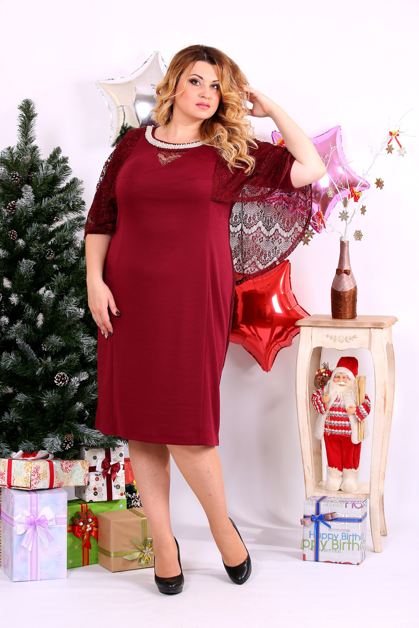 Красное трикотажное платье | 0661-2