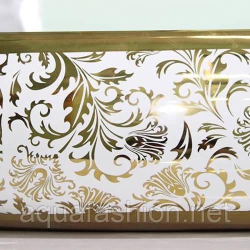 Высокий умывальник на столешницу с золотым декором 60 см Newarc Coutertop 5015G-W