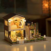 Hoomeda 1/24 DIY Деревянный ирландский загородный дом с LED Music Furniture Dollhouse