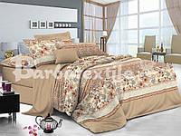 Бежевый двуспальный евро комплект постельного белья