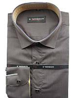Рубашка для мальчика подростковая Emerson с длинным рукавом шоколадная на кнопках