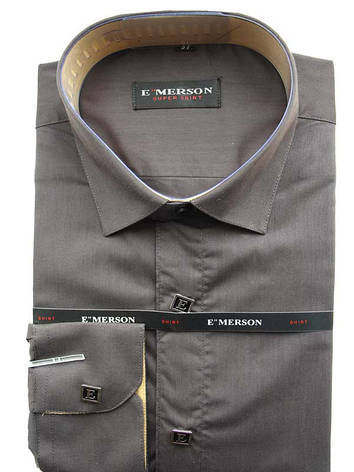 Рубашка для мальчика подростковая Emerson с длинным рукавом шоколадная на кнопках, фото 2
