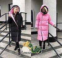 Женская двухсторонняя куртка-пальто, в расцветках