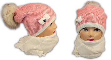 Набор зимний для девочки подростка шапка с шарфом