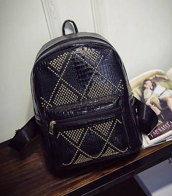 Рюкзак жіночий лаковий з заклепками для дівчаток, дівчат (чорний)