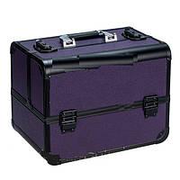 """Профессиональный алюминиевый кейс для косметики """"Exclusive Series"""" YRE-3523 Фиолетовый с черным"""
