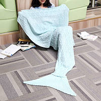 187x90cm пряжи трикотажного хвост русалки одеяло многоцветной ручной крючком бросить супер мягкий диван подстилке