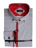 Рубашка для мальчика подростковая притал.белая с красной отделкой длинный рукав Verton
