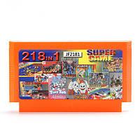 218 в 1 8 бит игра патрона шакал святой Кейдж с реальной желтую карточку для NES чорный FC