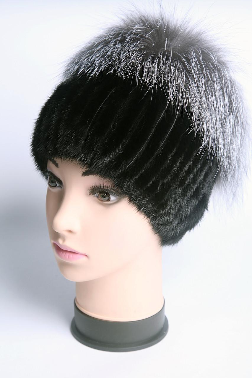 шапка женская вязаная из меха норки и чернобурки продажа цена в