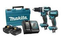 Набор ударный шуруповерт + ударный гайковерт Makita DLX2180MX 18V LXT (DTD153Z + DHP484Z), фото 1