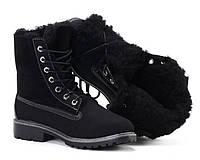 Зимние ботинки чёрного цвета на шнуровке