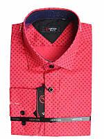 Модная подростковая рубашка для мальчика Verton с длинным рукавом трансформер красная с принтом