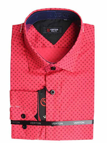 Модная подростковая рубашка для мальчика Verton с длинным рукавом трансформер красная с принтом, фото 2