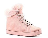Женские розовые ботинки на зиму