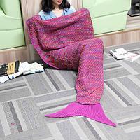 182x90cm пряжи трикотажного хвост русалки одеяло многоцветной ручной крючком бросить супер мягкий диван подстилке