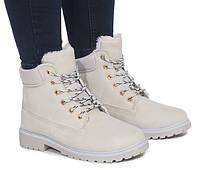 Женские светло-серые ботинки на зиму с Польши