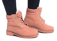 Розовые женские ботинки на зиму Timberland