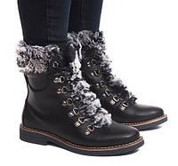 Женские зимние ботинки с мехом сверху