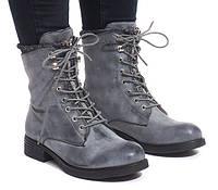 Женские ботинки весна-осень, на шнуровке