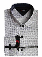 Рубашка для мальчика подростковая притал. белая с серым принтом длинный рукав Verton