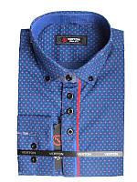 Рубашка для мальчика подростковая притал. синяя с красной отделкой длинный рукав Verton