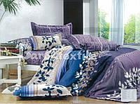 Двуспальный евро комплект постельного белья из натуральной ткани с абстракцией разноцвет