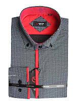 Рубашка для мальчика подростковая притал.черная с красной отделкой длинный рукав Verton