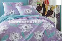 Красивый комплект постельного белья семейного размера сиреневый с цветком