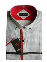 Рубашка для мальчика подростковая притал. белая с принтом отделана красным короткий рукав Verton