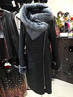 Темно-серая женская дубленка, с капюшоном, натуральная овчина, фото 1