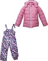 Зимняя куртка и полукомбинезон для девочки Нежно - розовый. Р.116 см