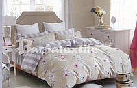 Двуспальный евро комплект постельного белья из натуральной ткани бежевый с цветами