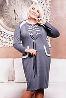 Платье Мармелад LE-2209 (серый+белый) , фото 1