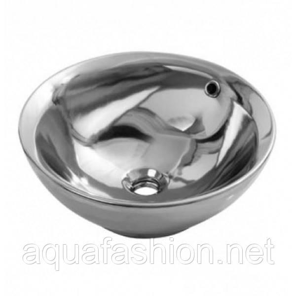 Умывальник в форме чаши серебро 42 см Newarc 5010CR