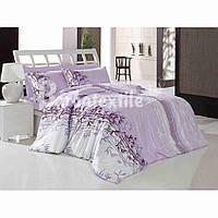 Двуспальный евро комплект постельного белья бамбук сиреневый