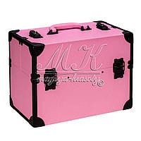 Новинка! Стильный чемодан для мастера маникюра, визажиста, св. розовый с черным ободком