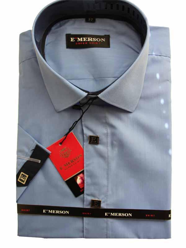 Рубашка для мальчика подростковая приталенная голубая короткий рукав Emerson
