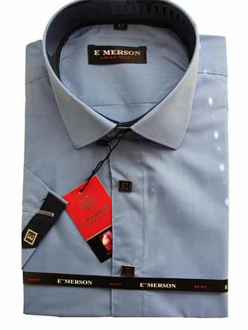 Рубашка для мальчика подростковая приталенная голубая короткий рукав Emerson, фото 2