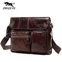 Сумка портфель мужская из натуральной кожи CROSS OX SL395M (коричневая)