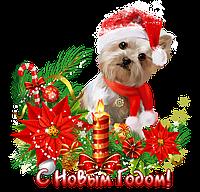 Наклейка новогодняя Собака