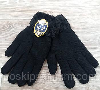 Перчатки мужские шерстяные двойные на меху Mozart, чёрные, длина 25 см, А-7