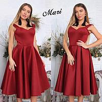 Платье с неопрена с пышной юбкой в цветовой гамме МС-12.038